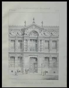 Charitable Lille, Crdp, Faculte Medecine - 1893 - Planche Architecture - Carlos Batteur