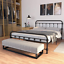 jaxpety queen size bedroom metal platform, bed frame with wood slats mattress, f