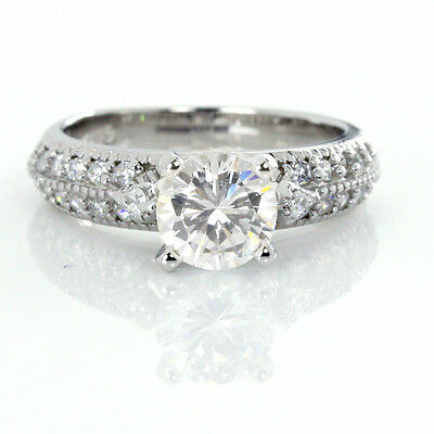 Sterling Engagement Ring Silver Vintage 6.5mm CZ Solitaire 18K White Gold Plate