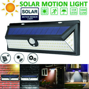 1000LM-118LED-Solar-PIR-Motion-Sensor-Light-Outdoor-Waterproof-Garden-Yard-Lamps
