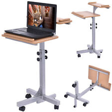 Adjustable Laptop Notebook Desk Table Stand Holder Swivel Home  Office Wheels