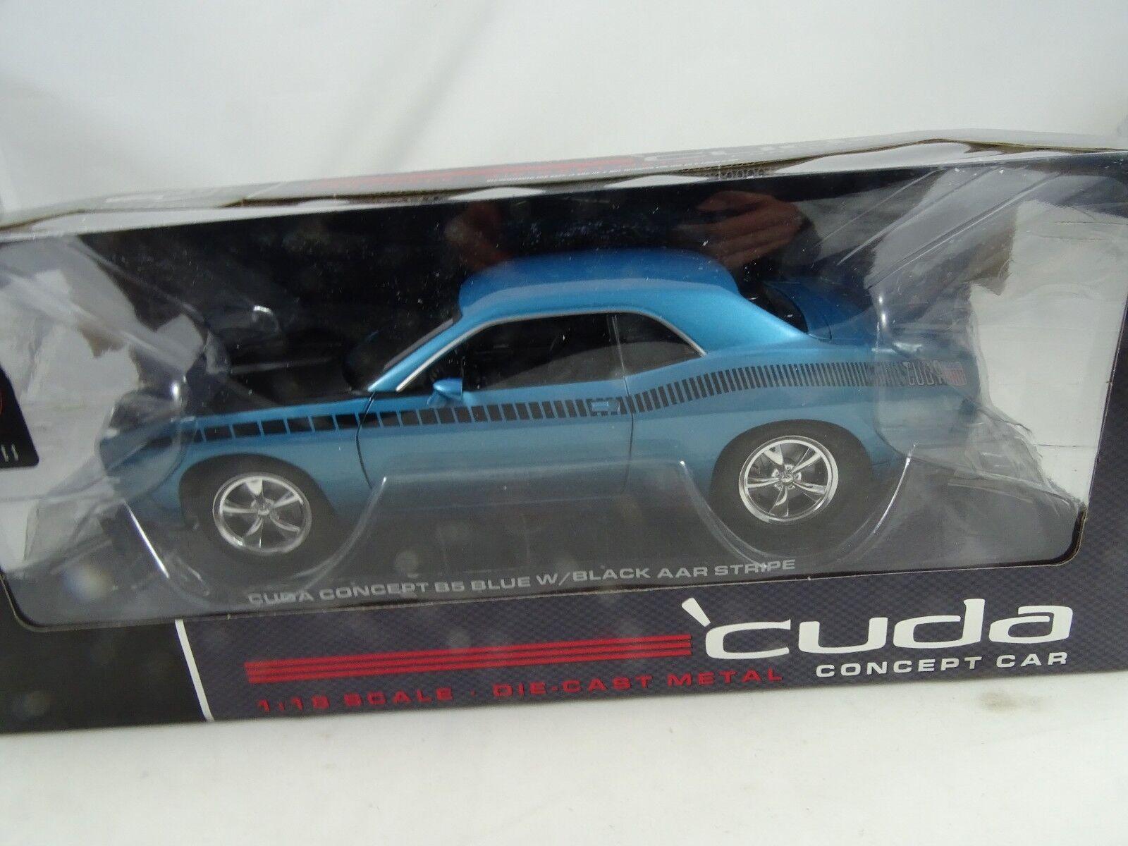 1:18 Highway 61 50826 Plymouth Cuda Concept B5 Blu W / Nero Aar Stripes Rarità