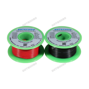 24 Gauge PVC 1007 Hook Up Wire Stranded Tinned Copper Wire 25 ft:Red and Black