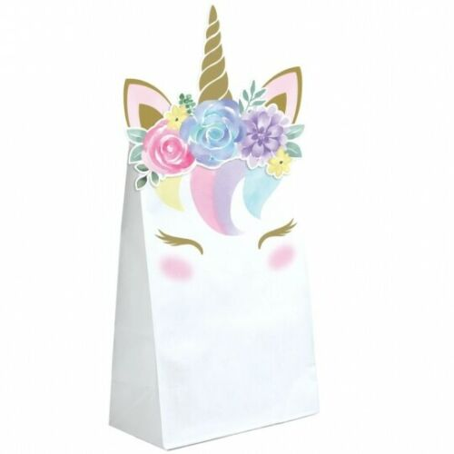 "Unicorn Baby Treat Bags 8 Pack Paper 8/"" x 4.5/"" Unicorn Favor Bag Party Supplies"