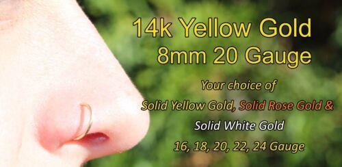 14k Solid Yellow Gold Nose Ring Hoop Earring 20 Gauge 8mm Inner