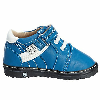 Boys Toddler - Leather Squeaky Shoes Boots - Blue & White with Cushioned Inner
