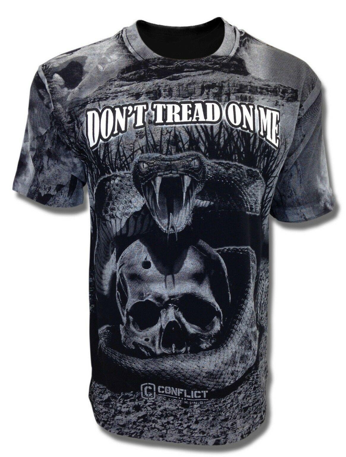 6581aa16fc9c Dont tread on me t-shirt rattlesnake all over print conflict clothing