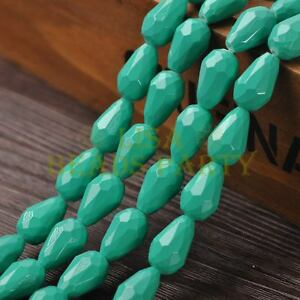 New-Arrival-10pcs-16X10mm-Faceted-Teardrop-Loose-Spacer-Glass-Beads-Lake-Green
