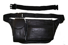 """Leather Fanny Pack Travel Waist Bag Pouch Large Cell Holder, Extention belt 18"""""""