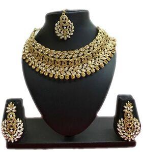Bollywood-Ethnic-Gold-Tone-Indian-Fashion-Bridal-Jewelry-Necklace-Earring-Set
