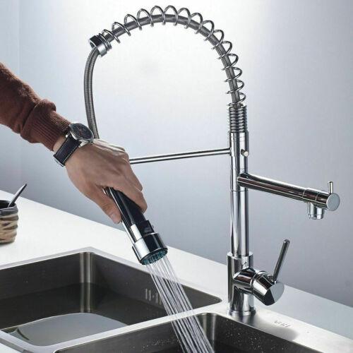 Chrom Küchenarmatur Spültischarmatur mit Dual-Spülbrause Wasserhahn Spiralfeder