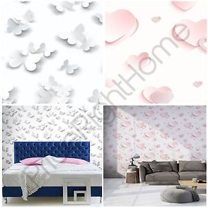 image is loading 3d glitter hearts butterflies wallpaper pink white feature - Room Decor 3d