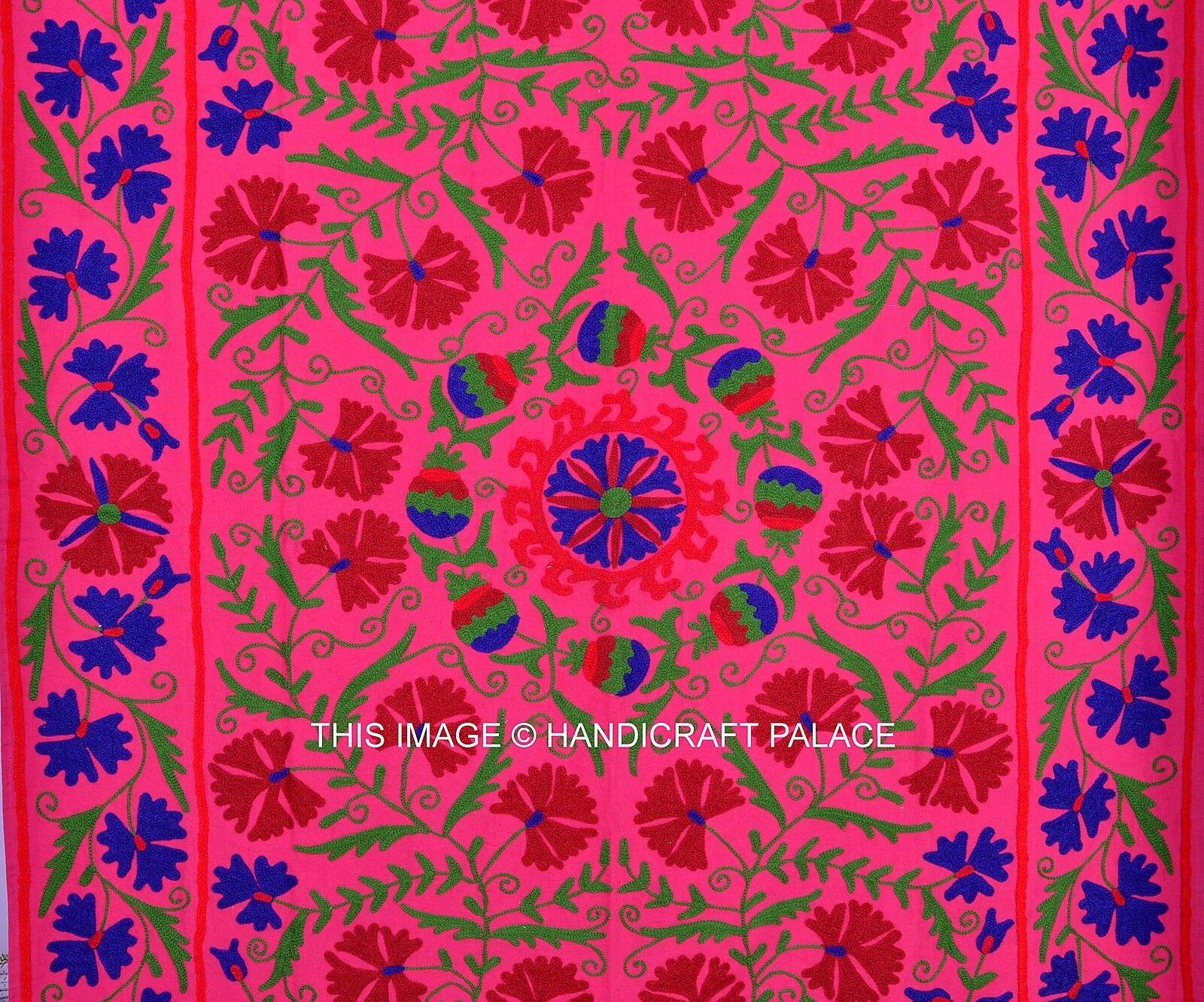 Floral Designer Uzbekistan Cotton Cotton Cotton uzani Boho Bedspread Embroiderot Wall Hanging 511b0d