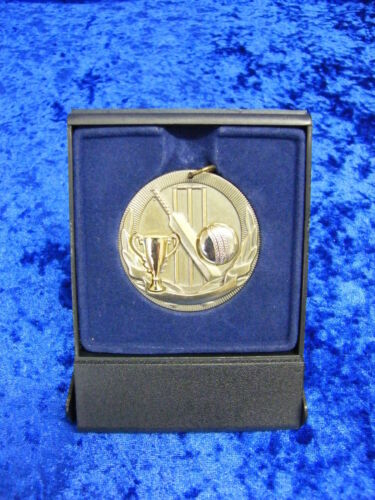 Cricket Battitore Bowler AWARD MEDAL Boxed Incisione Gratuita