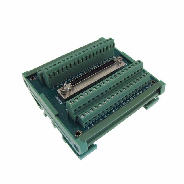 Compact 68-Pin SCSI Female Signals Breakout Board Module DB68 Din Rail Mount
