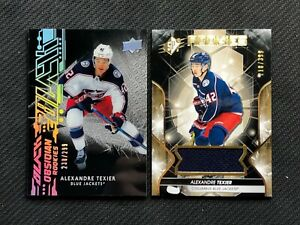 2019-20-UPPER-DECK-ALEX-TEXIER-ROOKIE-LOT-OF-2-OBSIDIAN-BLACK-299-SPX-399