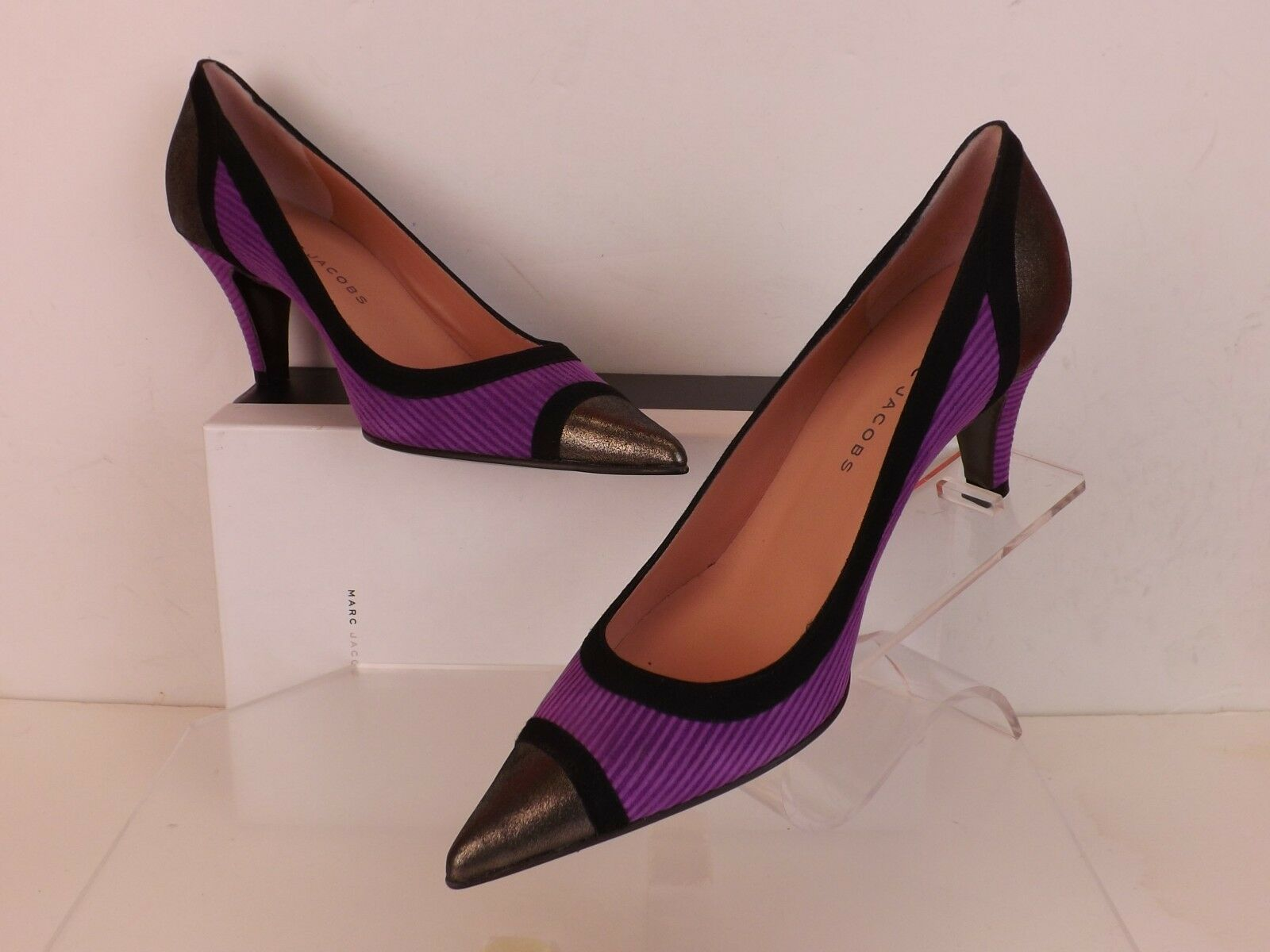 NIB MARC JACOBS MULTI-COLOR SUEDE POINTED TOE LOW HEEL PUMPS 38.5 ITALY