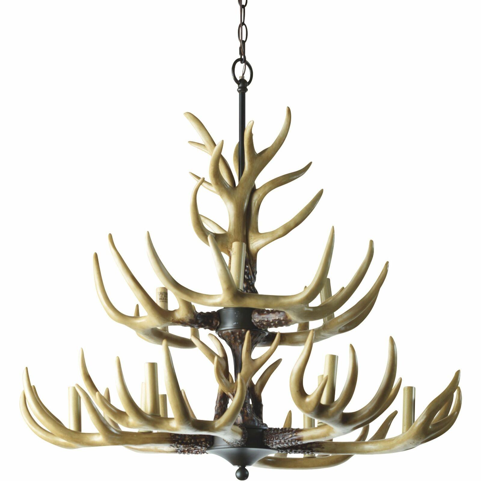 Twelve Light Deer Buck Antler Ceiling Chandelier Decorative Lighting 36 Chain For Sale Online