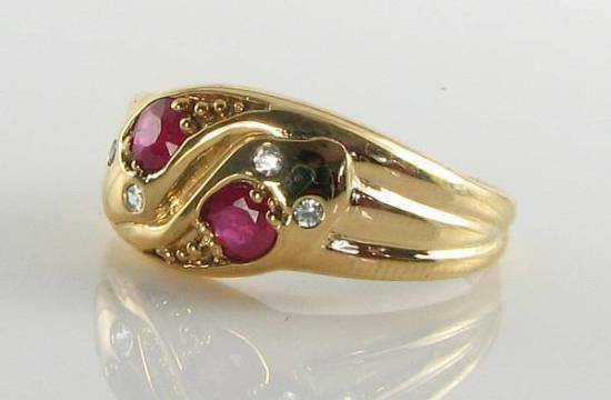 DIVINE 9CT gold VICTORIAN INS RUBY & DIAMOND DOUBLE HEAD SNAKE RING FREE RESIZE