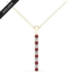 Ernest-Jones-Line-Of-Love-9ct-Gold-0-12ct-Diamond-amp-Ruby-Pendant-Necklace
