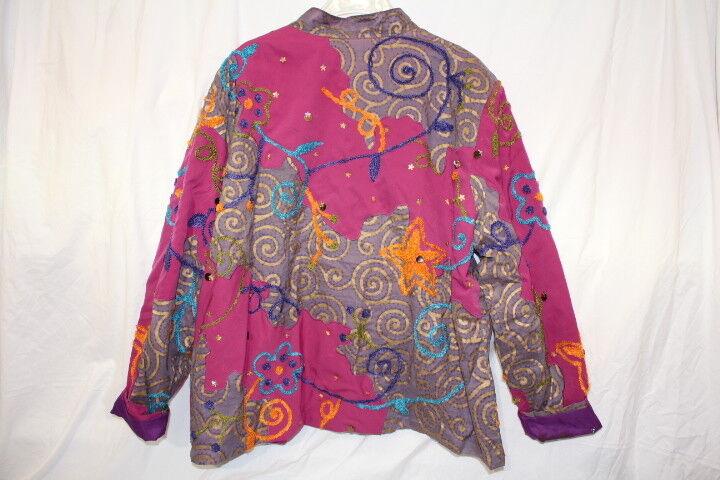 JEEVAN LIFE..WEAR LIFE..WEAR LIFE..WEAR Muli-color & Textured Blazer,Sequin Decor Womens 1X India-B126 8b969b