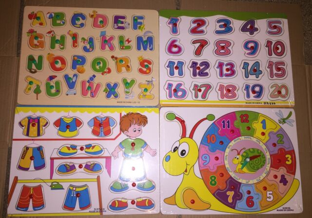 4 WOODEN ALPHABET NUMBERS CLOCK PEG COLOURFUL LEARN PLAY PUZZLE JIGSAW BOARDS
