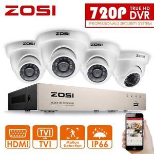ZOSI-HD-8CH-720P-HDMI-DVR-Video-Uberwachungset-4-Aussen-Weiss-Uberwachungskamera