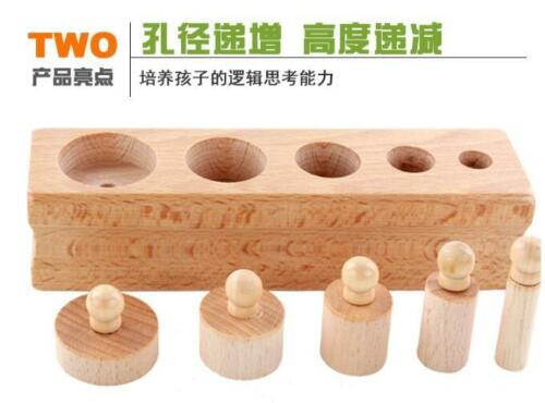 educational wooden toy Montessori cylinder socket early development senses teach