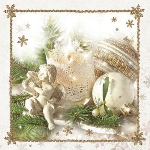 66 3 Servietten Engel Weihnachten 33x33 Kerze Christbaum Kugel Harfe angel