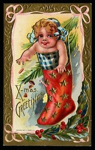 Cute-Baby-in-Red-Stocking-with-Holly-Vintage-Antique-Christmas-Postcard-m907