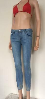 (24) Womens Blue Jeans - Various Styles Frayed Diamante Cropped Skinny 6 - 14