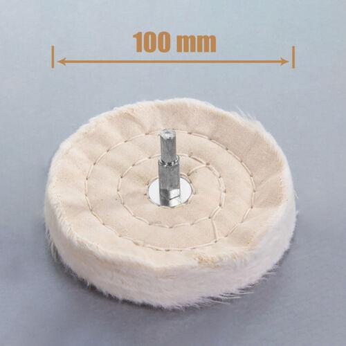 "4/"" Polishing Wheel With Rod Cloth Wheel 100mm Metal Wood Glass Rotary Drill NP2Z"