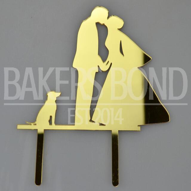 Bride Groom & Dog Gold Acrylic Wedding Day Cake Topper Silhouette | eBay