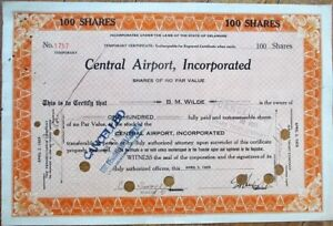 Central-Airport-1929-Stock-Certificate-Aviation-039-Temporary-Certificate-039