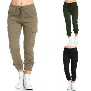 Mode-Femme-Pantalon-Couleur-Unie-Simple-Taille-elastique-Poche-Loose-Plus-Long