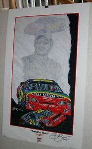 NASCAR-SAM-BASS-JEFF-GORDON-DUPONT-24-SMOKIN-HOT-20-X-28-SIGNED-POSTER