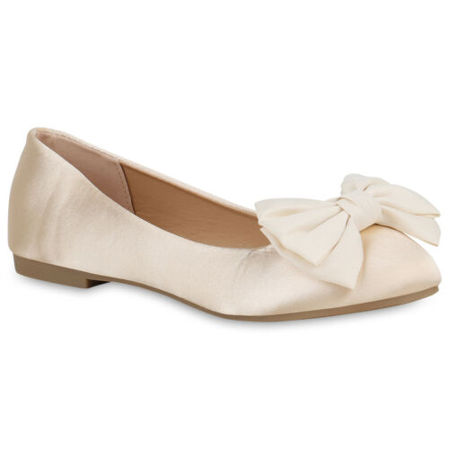 Klassische Damen Ballerinas Satin-Optik Schuhe Elegante Slippers 821088 Trendy
