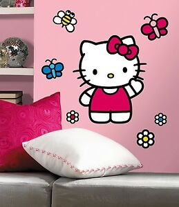 WORLD-of-HELLO-KITTY-BiG-Wall-Mural-Stickers-NEW-Vinyl-Room-Decor-Decals-Girls