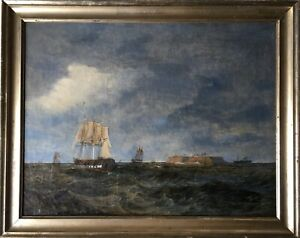 Marine-painter-Denmark-Carl-Olsen-Sailors-before-Heligoland-SAILING-SHIP-STEAM-SHIP