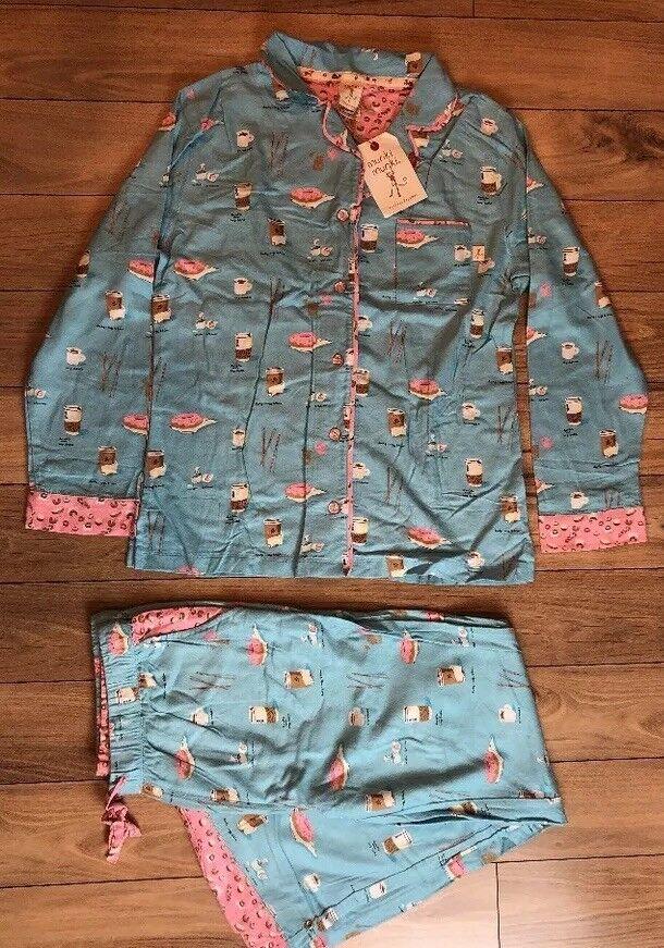 Sz M MUNKI Light bluee Coffee Latte Donut Flannel Pajama Set NWT Warm Winter PJs