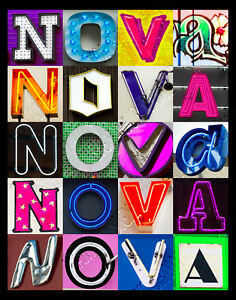NOVA Name Poster featuring photos of actual sign letters