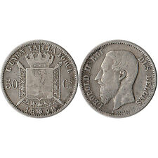 1898 Belgium 50 Centimes Silver Coin KM#26