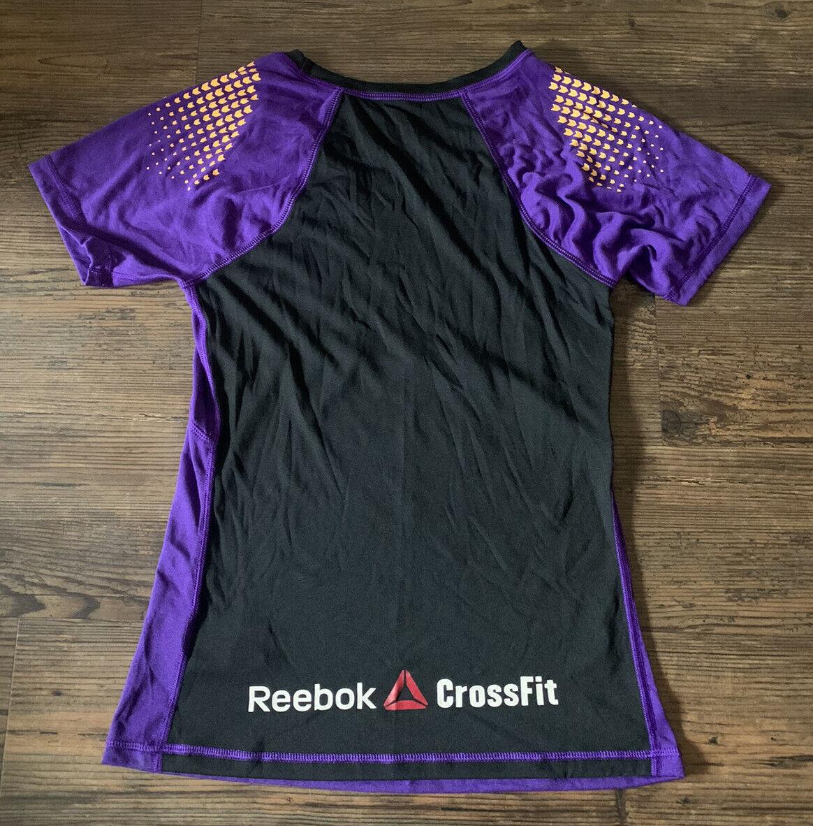 Women's Reebox Crossfit Training T-Shirt Sz M Purple/Black/Orange