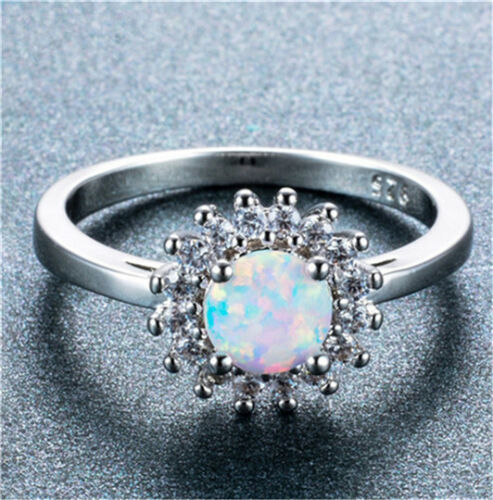 Fashion Femme Argent 925 Blanc Opale de feu Zircon Cristal Bague de mariage Taille 6 7 8 9 10