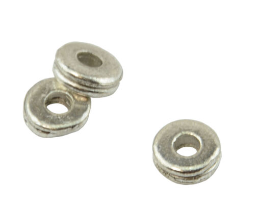 25 Flat Round Double Donut Metal Spacer Bead 6x2mm 59004-206