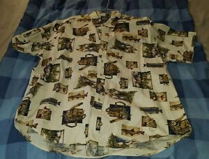 Woolrich-Mens-Shirt-Size-2XL-with-Fishing-Graphics-very-Short-Sleeve