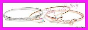 GUESS-Jeans-Rhinestones-Bangle-Bracelet-Logo-Rose-Gold-Tone-Charms-NWT-set-of-3