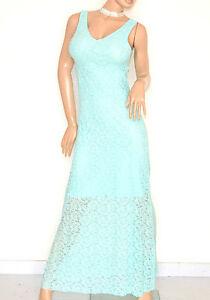 ABITO-LUNGO-VERDE-donna-vestito-elegante-PIZZO-da-sera-damigella-cerimonia-E120