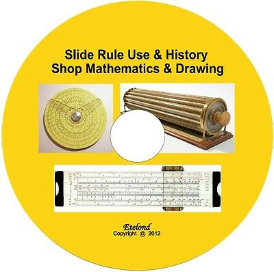 Slide Rule Mathematics Arithmetic Drawing Workshop Machinist Woodwork Manuals CD