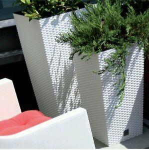 2 x HIGH QUALITY MODERN FLOWER POT RATO RATTAN NEW POTS PLANTER 26.5 cm SIZE